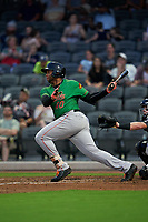 Down East Wood Ducks Curtis Terry (40) at bat during a Carolina League game against the Fayetteville Woodpeckers on August 13, 2019 at SEGRA Stadium in Fayetteville, North Carolina.  Fayetteville defeated Down East 5-3.  (Mike Janes/Four Seam Images)