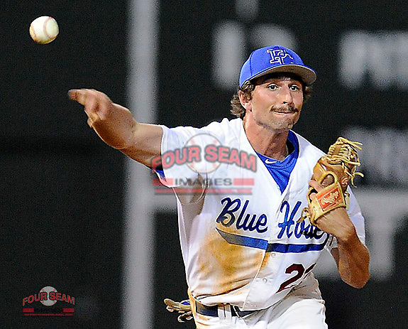 Shortstop Jay Lizanich (23) of the Presbyterian Blue Hose throws out a runner in a game against the University of Pittsburgh Panthers on Tuesday, March 11, 2014, at Fluor Field at the West End in Greenville, South Carolina. Pitt won, 12-3. (Tom Priddy/Four Seam Images)