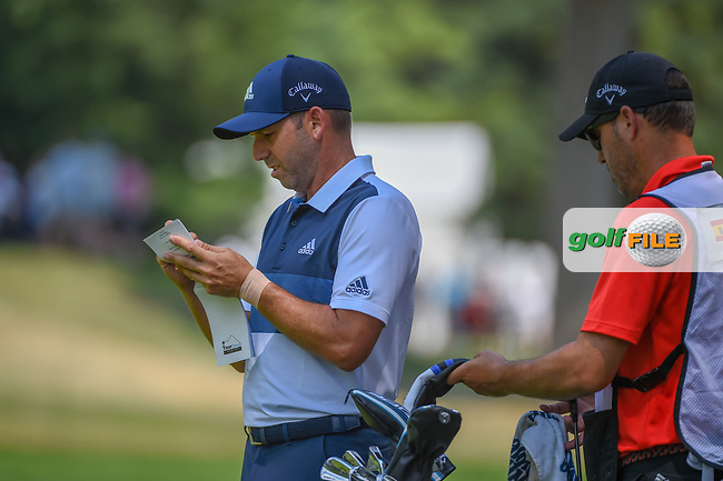 Sergio Garcia (ESP) looks over the yardage before his approach shot on 2 during 4th round of the World Golf Championships - Bridgestone Invitational, at the Firestone Country Club, Akron, Ohio. 8/5/2018.<br /> Picture: Golffile | Ken Murray<br /> <br /> <br /> All photo usage must carry mandatory copyright credit (© Golffile | Ken Murray)