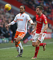 Blackpool's Nathan Delfouneso & Charlton Athletic's Ben Purrington chases down possession<br /> <br /> Photographer David Shipman/CameraSport<br /> <br /> The EFL Sky Bet League One - Charlton Athletic v Blackpool - Saturday 16th February 2019 - The Valley - London<br /> <br /> World Copyright © 2019 CameraSport. All rights reserved. 43 Linden Ave. Countesthorpe. Leicester. England. LE8 5PG - Tel: +44 (0) 116 277 4147 - admin@camerasport.com - www.camerasport.com