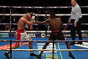 2nd February 2019 The O2 Arena, London, England; Boxing, European Super-Welterweight Championship, Sergio Garcia versus Ted Cheeseman; Undercard fight as Lawrence Okolie connects with a jab on Tamas Lodi
