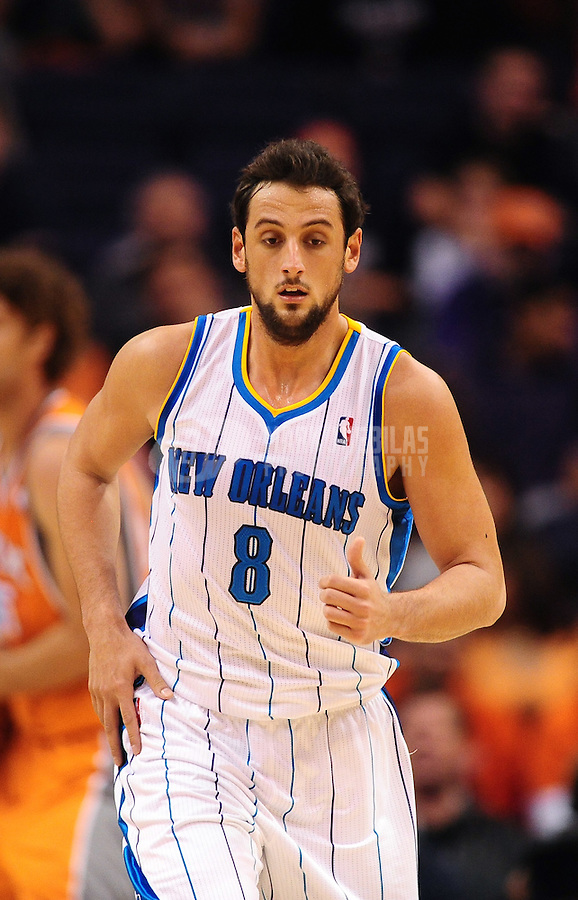 Dec. 26, 2011; Phoenix, AZ, USA; New Orleans Hornets guard Marco Belinelli during game against the Phoenix Suns at the US Airways Center. The Hornets defeated the Suns 85-84. Mandatory Credit: Mark J. Rebilas-USA TODAY Sports