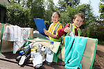 Pupils from Radyr Primary School visititing Welsh Water Education Centre in Cilfynydd..Chloe MacInnes and Sammy Peacock learning about recycling..24.05.12.©Steve Pope
