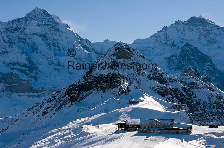 CHE, Schweiz, Kanton Bern, Berner Oberland, Grindelwald: Maennlichen Bergstation mit Moench (4.107 m), Jungfraujoch, Tschuggen (2.520 m), Lauberhorn (2.473 m) und Jungfrau (4.158 m) | CHE, Switzerland, Canton Bern, Bernese Oberland, Grindelwald: Maennlichen top station with Moench (4.107 m), Jungfraujoch, Tschuggen (2.520 m), Lauberhorn (2.473 m) + Jungfrau (4.158 m) mountains