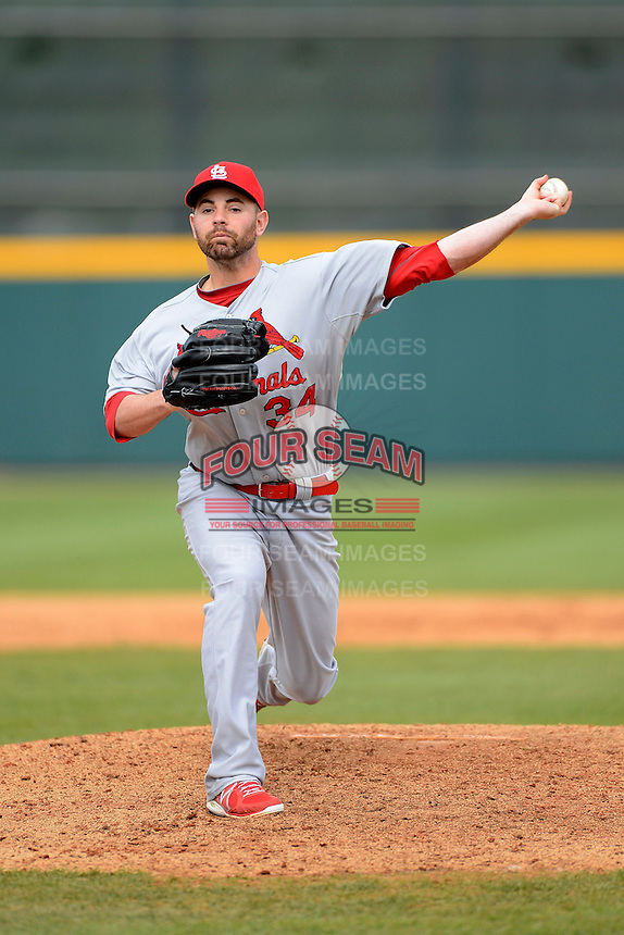 St. Louis Cardinals pitcher Mark Rzepczynski #34 during a Spring Training game against the Houston Astros at Osceola County Stadium on March 1, 2013 in Kissimmee, Florida.  The game ended in a tie at 8-8.  (Mike Janes/Four Seam Images)