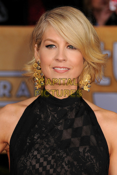 Jenna Elfman.Arrivals at the 19th Annual Screen Actors Guild Awards at the Shrine Auditorium in Los Angeles, California, USA..27th January 2013.SAG SAGs headshot portrait dangling gold earrings black sleeveless .CAP/ADM/BP.©Byron Purvis/AdMedia/Capital Pictures