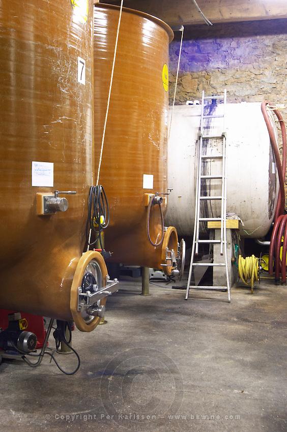 Domaine Terres Georges. In Castelnau d'Aude. Minervois. Languedoc. Fibreglass vats. Floating top vats. France. Europe.