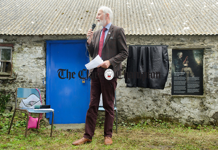 Frank Whelan, chairman of Fleadh 2017 Ennis speaking at the unveiling of a memorial at the house where the blind piper Patrick O Brien was born at Labasheeda. Photograph by John Kelly.