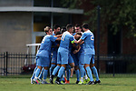 ELON, NC - AUGUST 25: North Carolina's John Nelson is mobbed by teammates after scoring a goal. The University of North Carolina Tar Heels hosted the Providence College Friars on August 25, 2017 at Rudd Field in Elon, NC in a Division I college soccer game. UNC won the game 4-2.