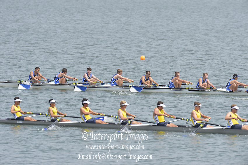 San Diego, California. USA.  Men's Junior JV.  Everitt winning and celebrating in the final, 2013 Crew Classic Regatta, Mission Bay.  13:16:10.  Sunday  07/04/2013   [Mandatory Credit. Peter Spurrier/Intersport Images] ..