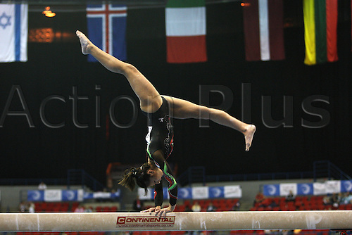Paola Galante of Italy competes at the beam during the senior women  team finals at the European Artistic Gymnastics Championship at the National Indoor Arena in Birmingham, UK on May 1, 2010.