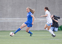 Cambridge, Massachusetts - May 18, 2014:  The Chicago Red Stars (blue and white) defeated the Boston Breakers (blue), 4-1 in a National Women's Soccer League Elite (NWSL) match at Harvard Stadium.