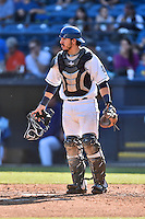 Asheville Tourists catcher Chris Rabago (22) during game one of a double header against the Kannapolis Intimidators at McCormick Field on May 21, 2016 in Asheville, North Carolina. The Tourists defeated the Intimidators in game one 3-2. (Tony Farlow/Four Seam Images)