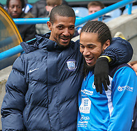 Preston North End's Jermaine Beckford shares a word with Huddersfield Town's Sean Scannell<br /> <br /> Photographer Alex Dodd/CameraSport<br /> <br /> The EFL Sky Bet Championship - Huddersfield Town v Preston North End - Friday 14th April 2016 - The John Smith's Stadium - Huddersfield<br /> <br /> World Copyright &copy; 2017 CameraSport. All rights reserved. 43 Linden Ave. Countesthorpe. Leicester. England. LE8 5PG - Tel: +44 (0) 116 277 4147 - admin@camerasport.com - www.camerasport.com
