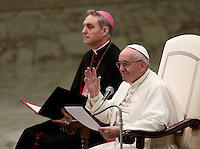 Pope Francis leads his weekly general audience in Paul VI hall at the Vatican on November 30, 2016. <br /> UPDATE IMAGES PRESS/Isabella Bonotto<br /> <br /> STRICTLY ONLY FOR EDITORIAL USE