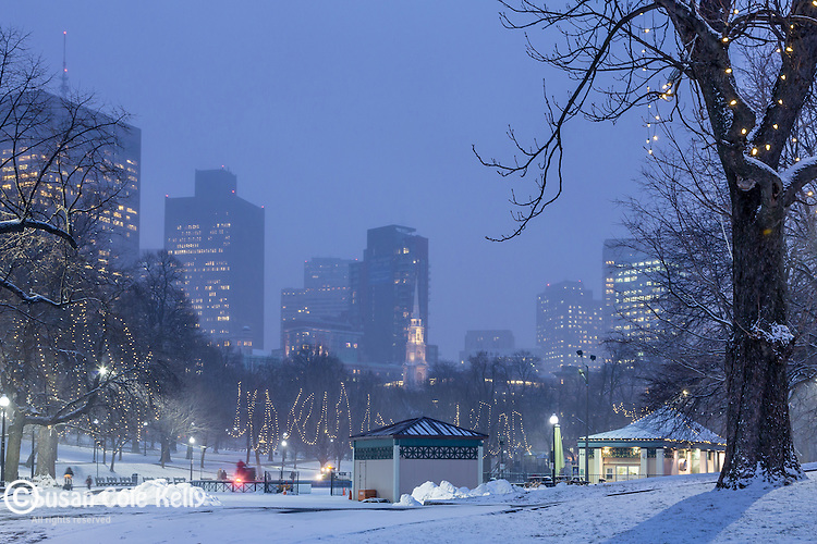 Evening snowfall at the Frog Pond skating rink in Boston Common, Boston, Massachusetts, USA