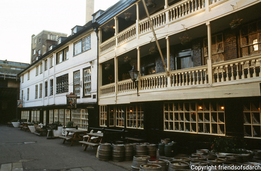 London:  The George Inn, 1676.  Southwark.  Sole surviving example of traditional inn.  Photo  2005.