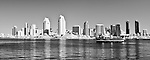 black and white image of the San Diego skyline taken in infrared.