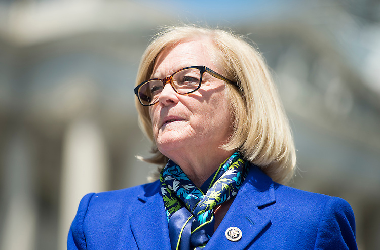 WASHINGTON, DC - MAY 14: Rep. Chellie Pingree, D-Maine, participates in a news conference at the House Triangle to call for the release of the food safety chapter of the Trans-Pacific Partnership on Thursday, May 14, 2015. (Photo By Bill Clark/CQ Roll Call)