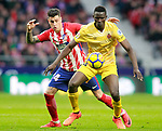 Atletico de Madrid's Jose Maria Gimenez (l) and Girona FC's Michael Olunga during La Liga match. January 20,2018. (ALTERPHOTOS/Acero)