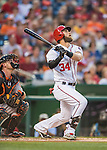 25 August 2016: Washington Nationals outfielder Bryce Harper in action against the Baltimore Orioles at Nationals Park in Washington, DC. The Nationals blanked the Orioles 4-0 to salvage one game of their 4-game home and away series. Mandatory Credit: Ed Wolfstein Photo *** RAW (NEF) Image File Available ***