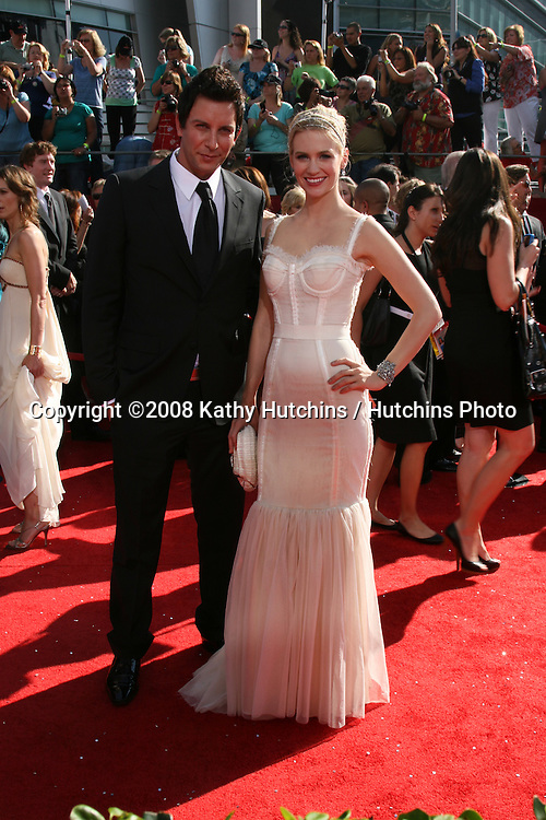 January Jones.arriving at the Primetime Emmys at the Nokia Theater in Los Angeles, CA on.September 21, 2008.©2008 Kathy Hutchins / Hutchins Photo....