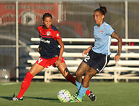 Piscataway, NJ - Saturday July 23, 2016: Estelle Johnson, Tasha Kai during a regular season National Women's Soccer League (NWSL) match between Sky Blue FC and the Washington Spirit at Yurcak Field.