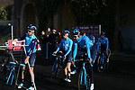 Movistar Team arrive at sign on before the Strade Bianche Women Elite 2019 running 133km from Siena to Siena, held over the white gravel roads of Tuscany, Italy. 9th March 2019.<br /> Picture: Seamus Yore | Cyclefile<br /> <br /> <br /> All photos usage must carry mandatory copyright credit (© Cyclefile | Seamus Yore)