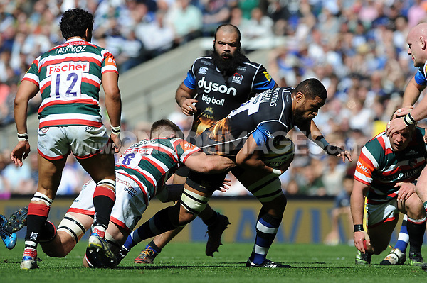 Taulupe Faletau of Bath Rugby takes on the Leicester Tigers defence. The Clash, Aviva Premiership match, between Bath Rugby and Leicester Tigers on April 8, 2017 at Twickenham Stadium in London, England. Photo by: Rob Munro / Onside Images