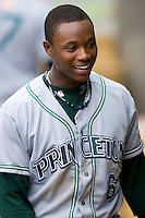 Tim Beckham (6) of the Princeton Rays in the visitors dugout at Calfee Field in Pulaski, VA, Sunday July 6, 2008. (Photo by Brian Westerholt / Four Seam Images)