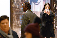 Former Republican presidential  candidate Ben Carson walks through the lobby of the Trump Tower in New York, New York, on November 22, 2016.  United States President-elect Donald Trump has mentioned he is considering Mr. Carson for a cabinet post as the head of the Department of Housing and Urban Development (HUD). <br /> Credit: Anthony Behar / Pool via CNP /MediaPunch