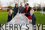 To mark the 40th Anniversary Ardfert Central N.S, an unveiling of a piece of sculpture created by fifth class and artist Aidan Power to commemorate the merging of the four schools in Ardfert on Monday Pictured Avril Barrett, (5th Class) Ann Kearney, (5th Class Teacher) Aidan Power (Artist), Betty Stack (Principal Ardfert Central National School), James Baxter (5th Class)
