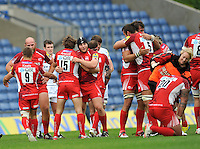Oxford, England. London welsh celebrate there first Premiership win during the Aviva Premiership match between London Welsh and Exeter Chiefs at the Kassam Stadium on September 16, 2012 in Oxford, England.
