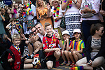 © Joel Goodman - 07973 332324 - all rights reserved . 24/08/2019. Manchester, UK. Crowds watching . The 2019 Manchester Gay Pride parade through the city centre , with a Space and Science Fiction theme . Manchester's Gay Pride festival , which is the largest of its type in Europe , celebrates LGBTQ+ life . Photo credit: Joel Goodman/LNP