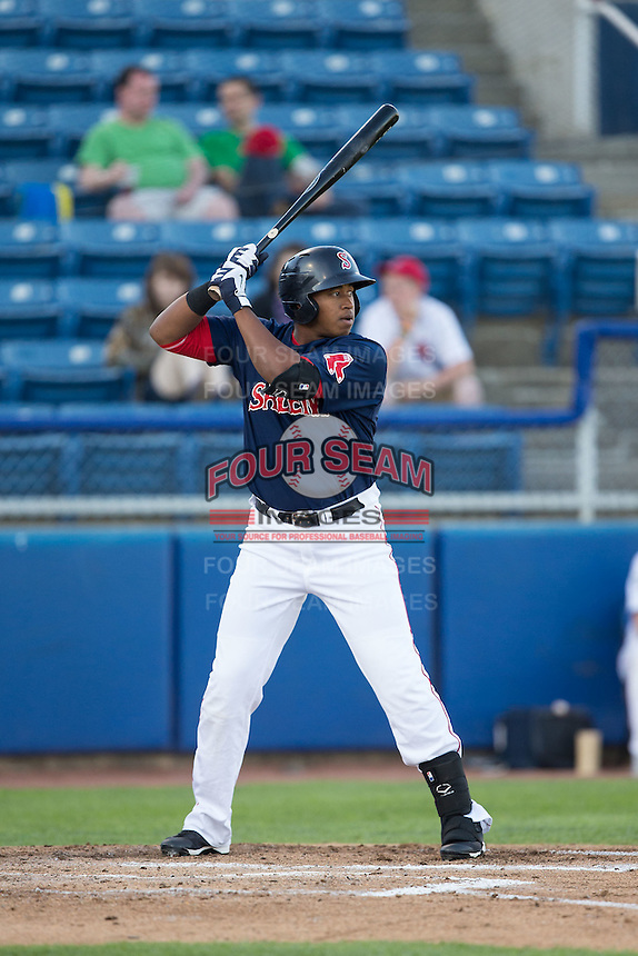 Salem Red Sox designated hitter Mario Martinez (47) at bat against the Winston-Salem Dash at LewisGale Field at Salem Memorial Ballpark on May 13, 2015 in Salem, Virginia.  The Red Sox defeated the Dash 8-2.  (Brian Westerholt/Four Seam Images)