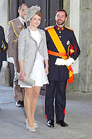 The royal christening of Crown Princess Victoria and Prince Daniel's daughter Princess Estelle Silvia Ewa Mary of Sweden, in the Royal Chapel in Stockholm, 22.05.2012...Picture shows: Hereditary Grand Duke Guillaume of Luxembourg and his fiancee Stephanie de Lannoy...Credit: Stella Pictures/face to face..- Germany, Austria, Switzerland and USA rights only - / Mediapunchinc