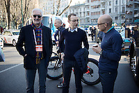 UCI president Brian Cookson paying a visit to Team SKY manager manager Sir David Brailsford (GBR/SKY) at the start in Milano<br /> <br /> 107th Milano-Sanremo 2016
