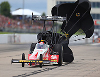 May 20, 2017; Topeka, KS, USA; NHRA top fuel driver Doug Kalitta during qualifying for the Heartland Nationals at Heartland Park Topeka. Mandatory Credit: Mark J. Rebilas-USA TODAY Sports