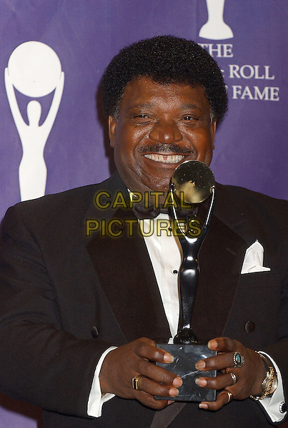 PERCY SLEDGE.2005 Rock and Roll Hall of Fame Induction Ceremony held at the Waldorf Astoria, New York, New York.March 14th, 2005.Photo Credit: Laura Farr/AdMedia.inductee bow tie half length gap teeth mustache facial hair award trophy ring.www.capitalpictures.com.sales@capitalpictures.com.© Capital Pictures.