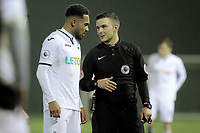 Pictured: Kenji Gorre is spoken to by referee Savvas Yianni. Wednesday 20 December 2017<br /> Re: Premier League International Cup, Swansea City U23 v Athletic Bilbao at the Landore Training Ground, Swansea, Wales, UK.