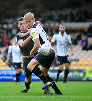 Port Vale's Nathan Smith shields the ball from  Lincoln City's Shay McCartan<br /> <br /> Photographer Andrew Vaughan/CameraSport<br /> <br /> The EFL Sky Bet League Two - Port Vale v Lincoln City - Saturday 13th October 2018 - Vale Park - Burslem<br /> <br /> World Copyright © 2018 CameraSport. All rights reserved. 43 Linden Ave. Countesthorpe. Leicester. England. LE8 5PG - Tel: +44 (0) 116 277 4147 - admin@camerasport.com - www.camerasport.com