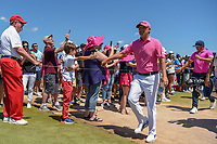 Matt Jones (AUS) high fives young fans on his way to the tee on 8 during round 4 of the AT&T Byron Nelson, Trinity Forest Golf Club, Dallas, Texas, USA. 5/12/2019.<br /> Picture: Golffile   Ken Murray<br /> <br /> <br /> All photo usage must carry mandatory copyright credit (© Golffile   Ken Murray)