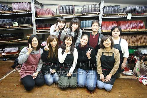 Jan. 21, 2009; Obama, Fukui Prefecture, Japan - the Hashi Minomoto staff pose with visitor Sara Wall from Santa Barbara.