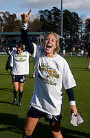 Lauren Fowlkes (9) of Notre Dame celebrates after the final of the NCAA Women's College Cup at WakeMed Soccer Park in Cary, NC.  Notre Dame defeated Stanford, 1-0.