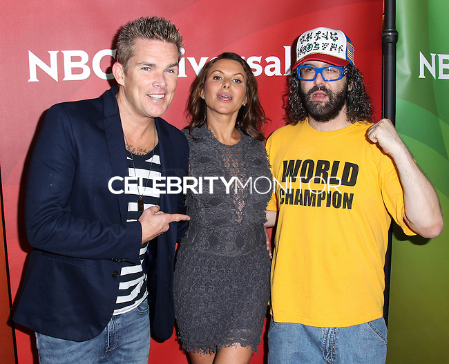 PASADENA, CA, USA - APRIL 08: Mark McGrath, Kari Wuhrer, Judah Friedlander at the NBCUniversal Summer Press Day 2014 held at The Langham Huntington Hotel and Spa on April 8, 2014 in Pasadena, California, United States. (Photo by Xavier Collin/Celebrity Monitor)