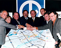 1998 File Photo, Laval (Quebec) CANADA<br /> <br /> David Cliche,<br /> candidate PQ,<br /> Bernard Landry, Quebec Premier ,<br /> Jacques Brassard,<br /> Gilles Vaillancourt, Laval Mayor,<br /> Joseph Facal,<br /> Serge Menard,<br /> Robert Perreault,<br /> Press Conference for the construction of the Montreal subway to Laval<br /> <br /> Photo : (c) 1999 by Pierre Roussel / Images Distribution