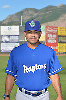 Ogden Raptors hitting coach Leo Garcia (26) poses for a photo during media day on June 14, 2014 at Lindquist Field in Ogden, Utah. (Stephen Smith/Four Seam Images)