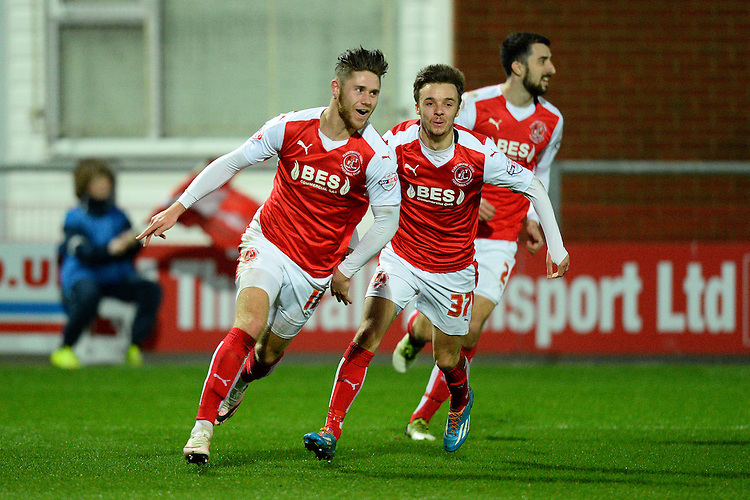 Fleetwood Town's Wes Burns celebrates scoring the first goal<br /> <br /> Photographer Richard Martin-Roberts/CameraSport<br /> <br /> Football - The Football League Sky Bet League One - Fleetwood Town v Peterborough United - Tuesday 5th April 2016 - Highbury Stadium - Fleetwood   <br /> <br /> &copy; CameraSport - 43 Linden Ave. Countesthorpe. Leicester. England. LE8 5PG - Tel: +44 (0) 116 277 4147 - admin@camerasport.com - www.camerasport.com