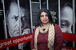 © Joel Goodman - 07973 332324 . 09/02/2015 . Manchester , UK . Councillor Sameem Ali of Moss Side Ward , who wrote about her experience as someone who was a victim of people traffickers and who campaigns to help vulnerable women from forced marriages . Libby Lane , the Bishop of Stockport , carries out her first public engagement since being ordained as the first woman Bishop in the Church of England . Pictured being interviewed by media . Bishop Libby Lane meets victims of human trafficking at Manchester Airport's Terminal 2 Arrival Lounge and speaks in support of efforts to clamp down on human trafficking . Photo credit : Joel Goodman