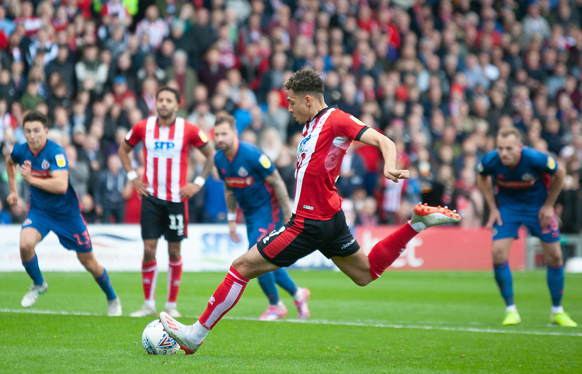 Lincoln City's Tyler Walker misses from the penalty spot<br /> <br /> Photographer Andrew Vaughan/CameraSport<br /> <br /> The EFL Sky Bet League One - Lincoln City v Sunderland - Saturday 5th October 2019 - Sincil Bank - Lincoln<br /> <br /> World Copyright © 2019 CameraSport. All rights reserved. 43 Linden Ave. Countesthorpe. Leicester. England. LE8 5PG - Tel: +44 (0) 116 277 4147 - admin@camerasport.com - www.camerasport.com